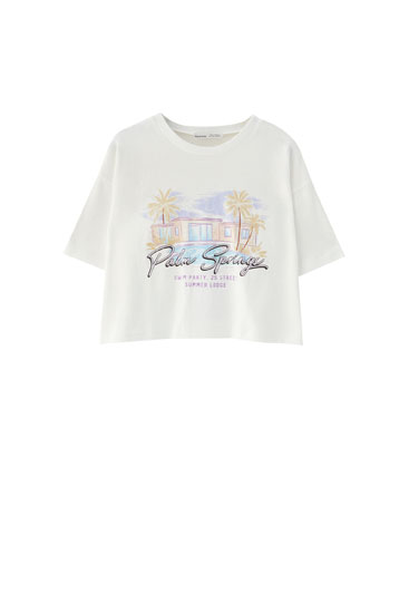 Cropped white T-shirt with illustration