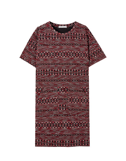 Geometric print tweed dress