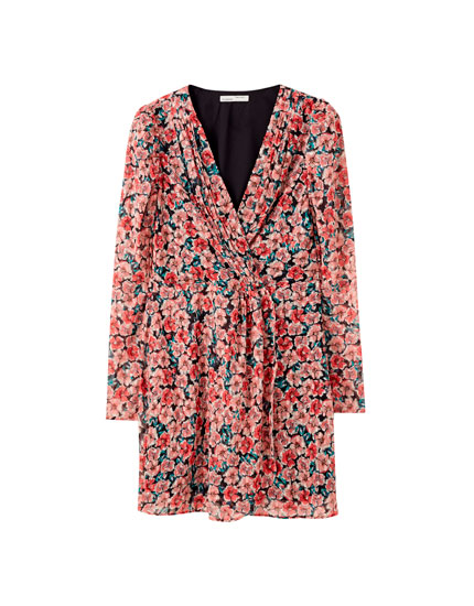 Платье миди на запахе, с вышивкой плюмети и принтом
