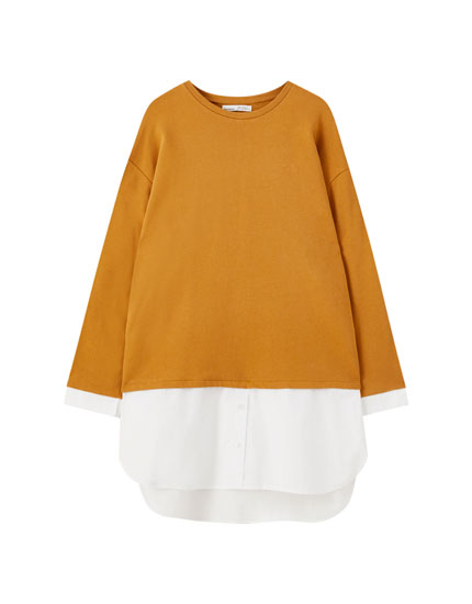 Contrasting cotton shirt dress