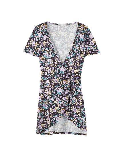 Vestido estampado flores mini