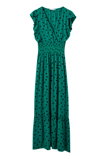 Green dress with shirring