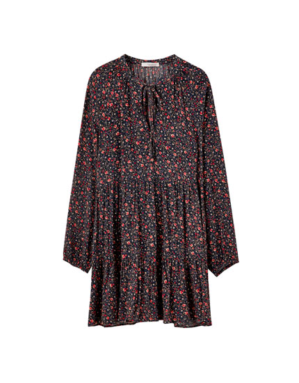 Voluminous floral print panel dress