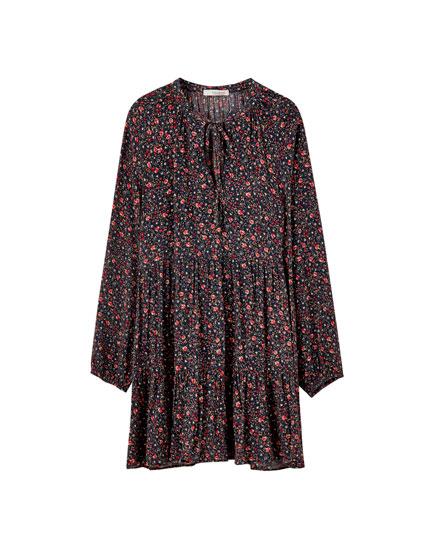 Voluminous floral print panel dress