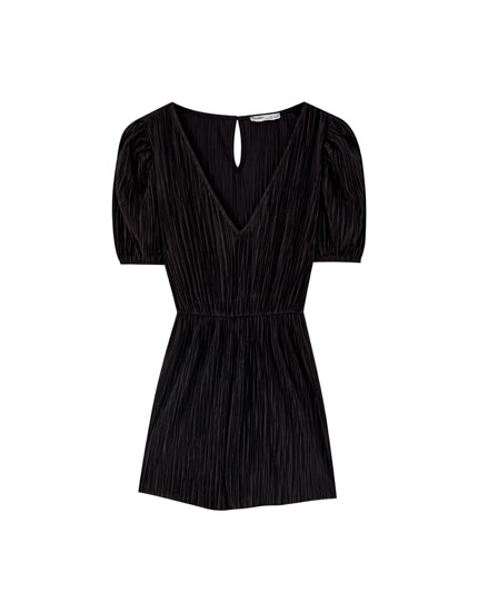 Black pleated playsuit