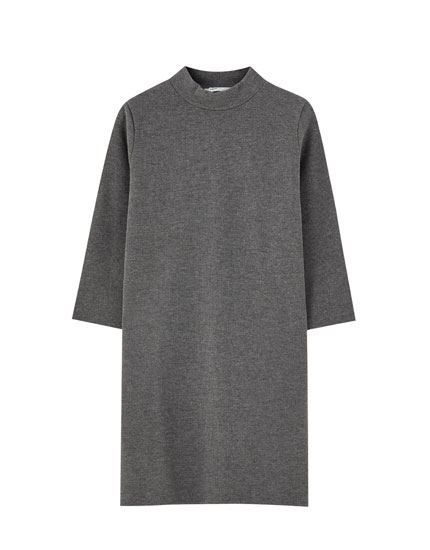 Soft-feel mock neck dress