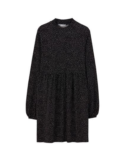 Φόρεμα κρεπ με ψηλό γιακά