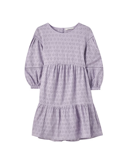 Panelled baby-doll dress with embroidery