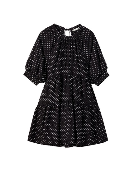 Polka dot mini dress with panels
