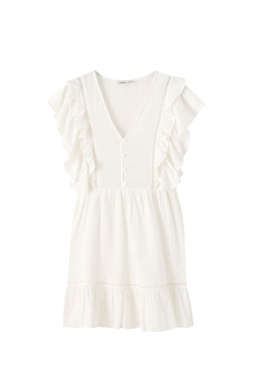Ruffled mini dress with small buttons