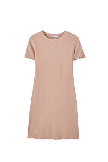 Basic fitted check texture dress