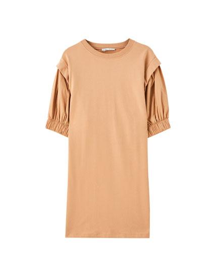 Φόρεμα από ποπλίνα με φουσκωτά μανίκια