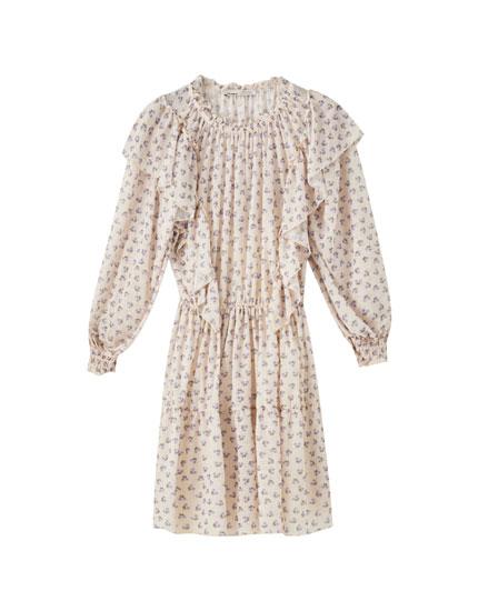Shirred dress with ruffles