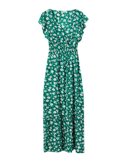 Gesmoktes Kleid in Grün mit Blumenprint