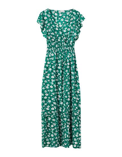 Vestido verde flores goma canilla