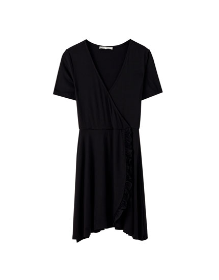 Surplice mini dress with short sleeves