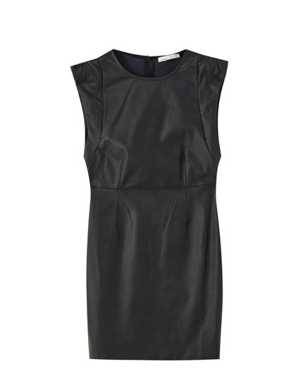 Faux leather dress with gathered shoulders