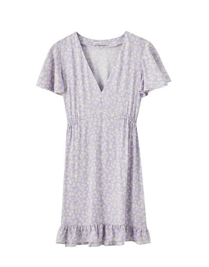 Сиреневое платье с цветочным принтом - PULL&BEAR