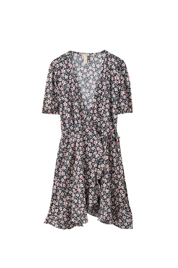 Floral print wrap dress with ruffle