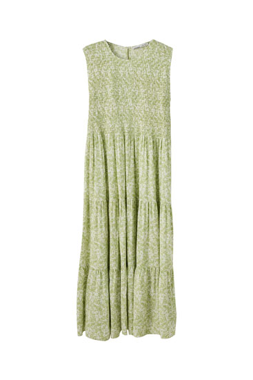 Green shirred midi dress