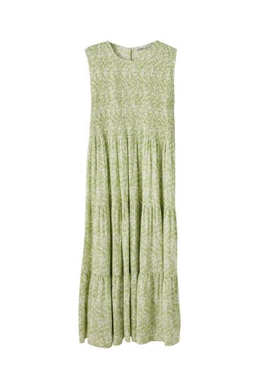 Vestido midi verde gomas