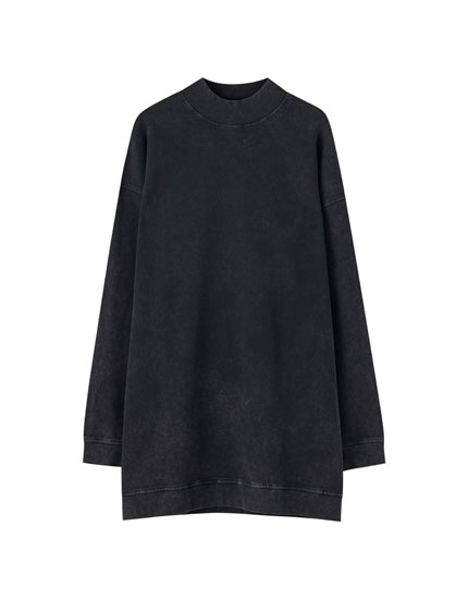 Longline mock neck sweatshirt