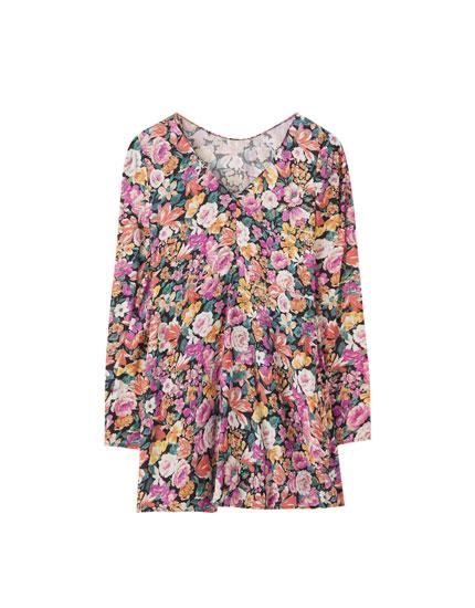 Floral print open-back dress