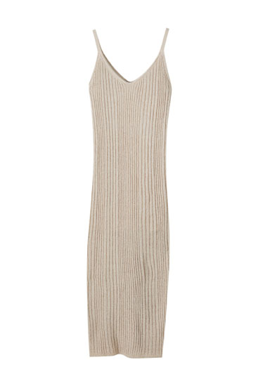 Long rustic ribbed dress