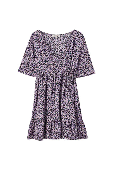 Floral dress with elastic waist