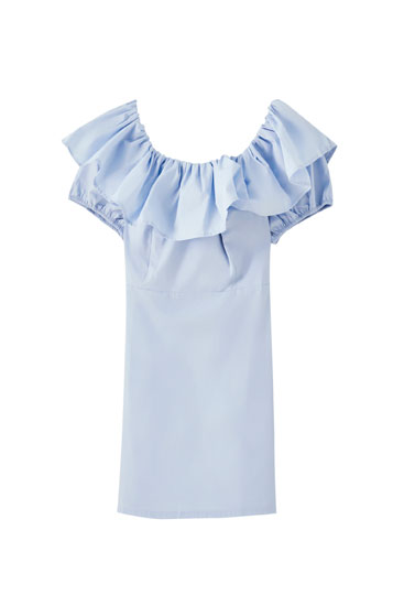 Blue mini dress with ruffle trim
