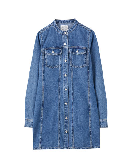 Denim shirt dress with stand-up collar
