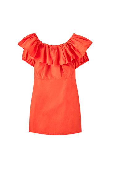 Bandeau dress with ruffles