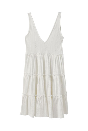 White strappy dress with Swiss embroidery