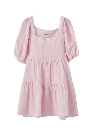 Baby-doll dress with square neckline