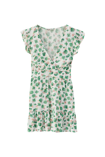 Floral print mini dress with ruffle hem