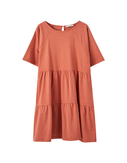 Short sleeve panelled dress