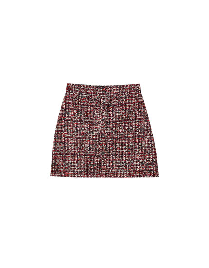 Tweed mini skirt with front buttons
