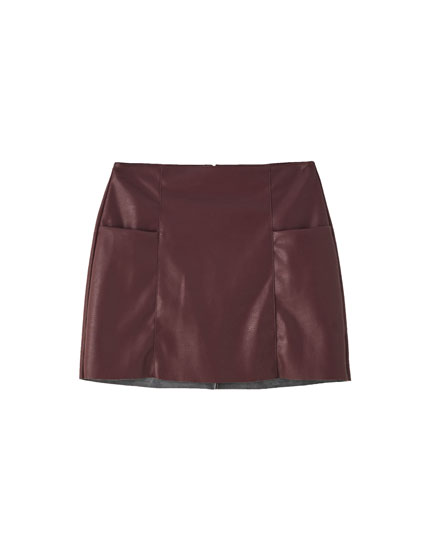 Faux leather mini skirt with stitching