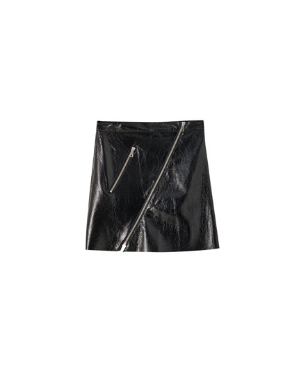 Faux leather mini skirt with zip detail