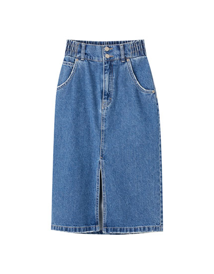 Denim elastic midi skirt