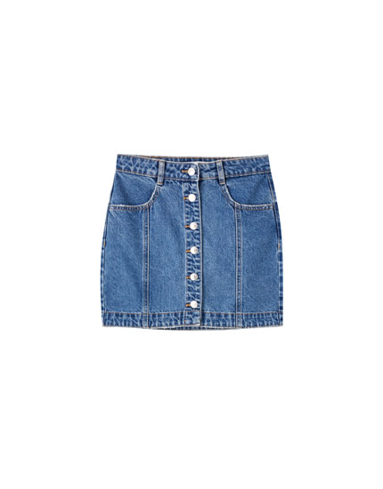 Denim mini skirt with contrast buttons