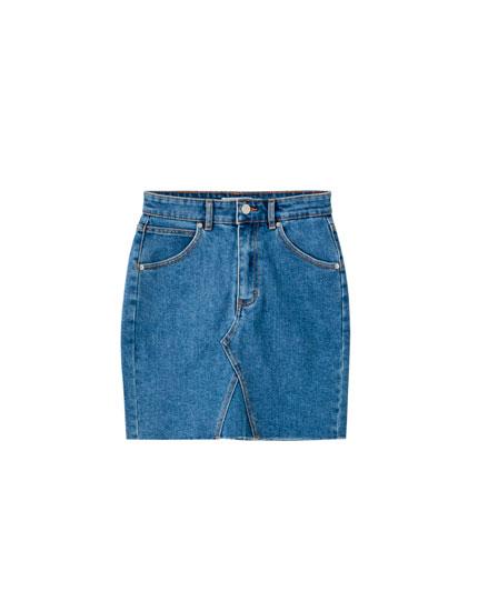 Minijupe en jean ajustée asymétrique