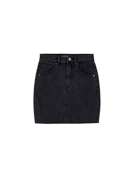 Fitted asymmetric denim mini skirt