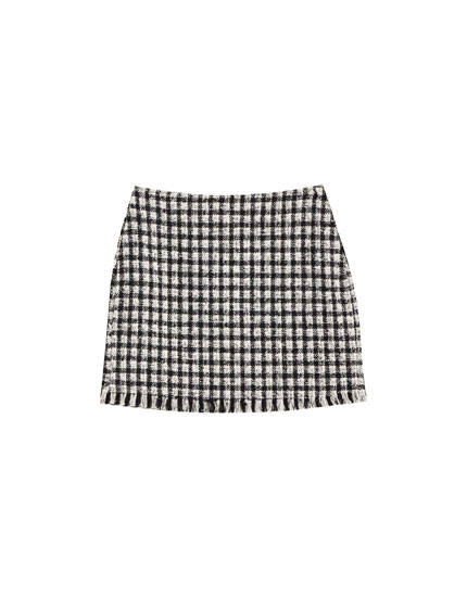 Contrasting flecked mini skirt
