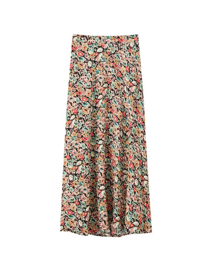 Printed viscose midi skirt