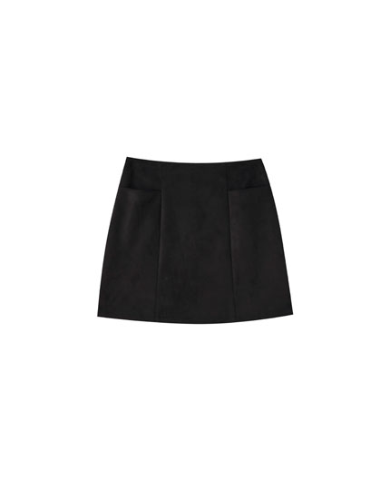 Basic faux suede mini skirt