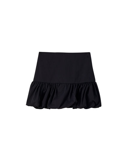 Balloon-fit black mini skirt