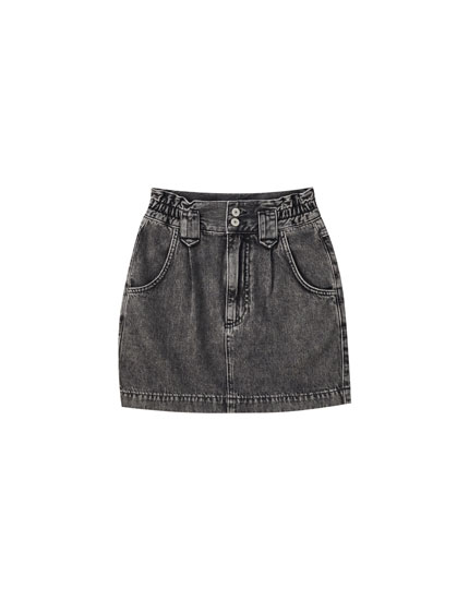 Minifalda negra resorte cintura
