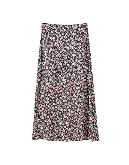 Floral midi skirt with slit