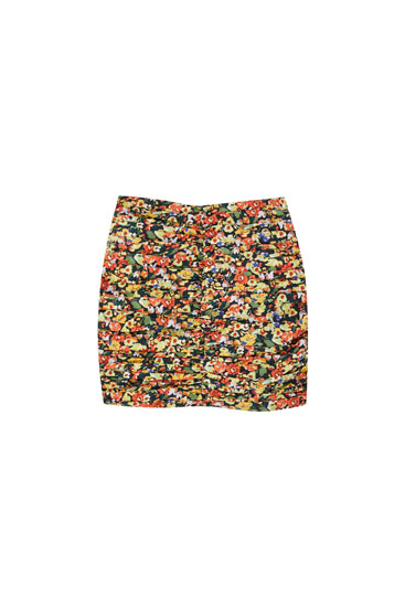 Printed mini skirt with ruched detail